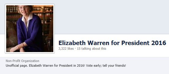 Elizabeth Warren for President Facebook Page 2-1-2013