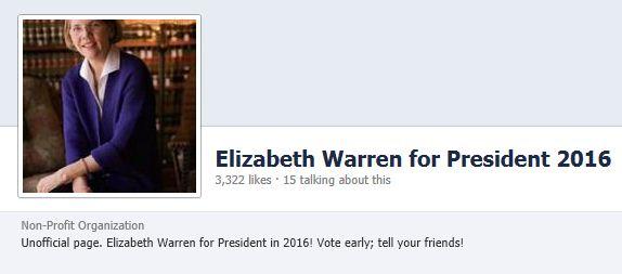 Elizabeth Warren for President Facebook Page 2-1-2013