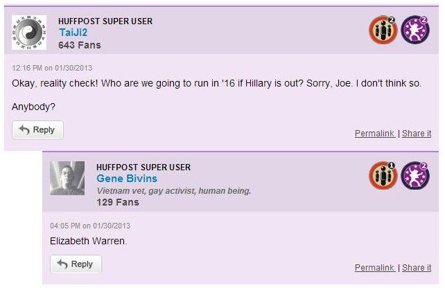 Huffington Post Comment Warren for President