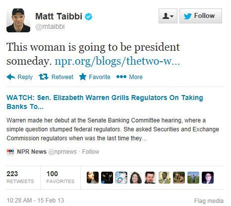 Twitter - @MattTaibi - Warren President Someday